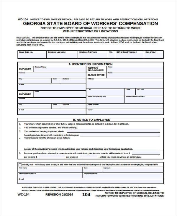 Sample Release Forms - return to work medical form