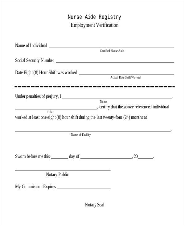 8+ Employment Verification Sample Forms - Free Example, Sample