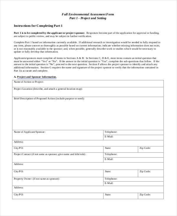 7+ Environmental Assessment Form Samples - Free Sample, Example