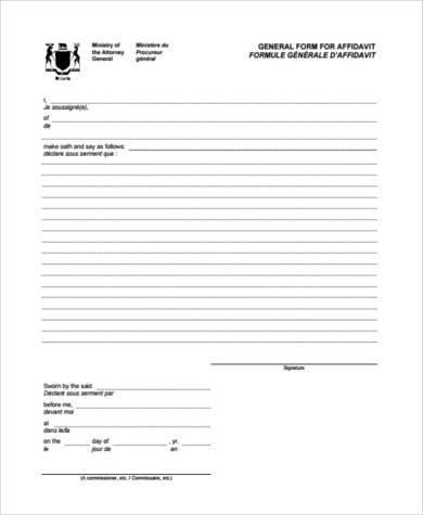 General Affidavit Form Samples - 9+ Free Documents in Word, PDF - general affidavit form