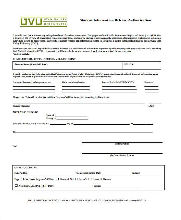 Sample Release Forms