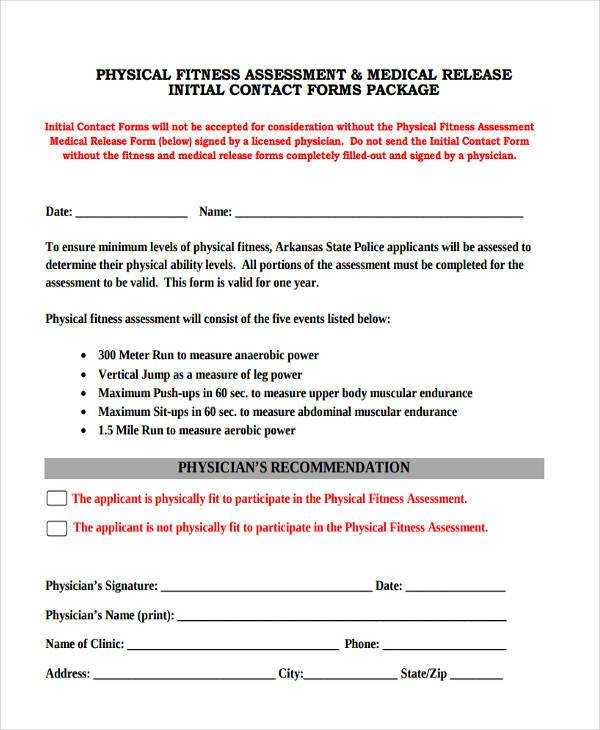 Sample Fitness Assessment Forms 9 Free Documents In Pdf Inside22