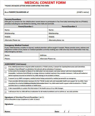 8+ Consent Form Samples   Free Sample, Example Format Download   Sample  Medical Consent