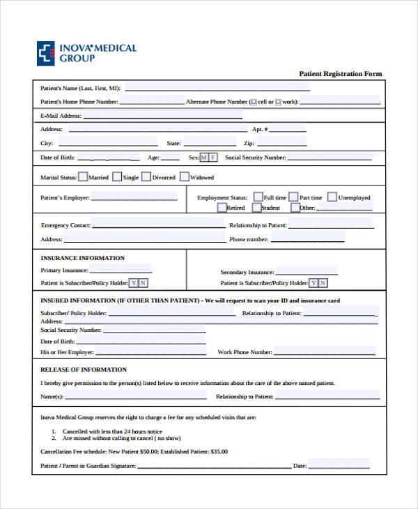 7+ Patient Registration Form Samples - Free Sample, Example, Format
