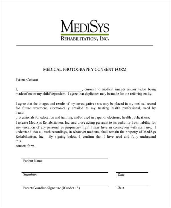 Photography Release Form oakandale - photography consent form