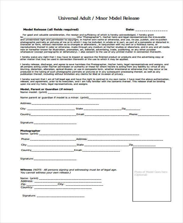 Doc# Sample Print Release Form Example u2013 MODEL RELEASE FORM (+83 - print release form