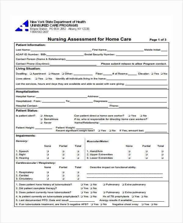 Nursing Assessment Forms - Design Templates - nursing assessment forms