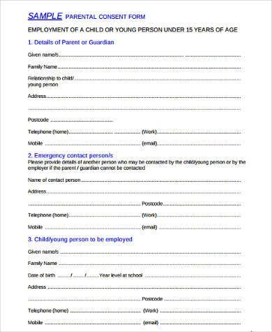 Sample Parental Consent Forms radiogomezone - passport consent forms