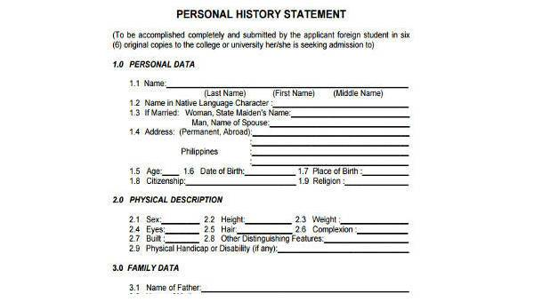 Sample Personal Statement Forms - 7+ Free Documents in Word, PDF