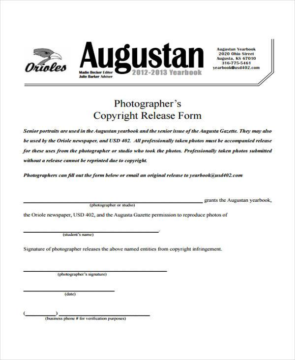 Photographer Release Forms General Photo Release Form Photography - photo copyright release forms