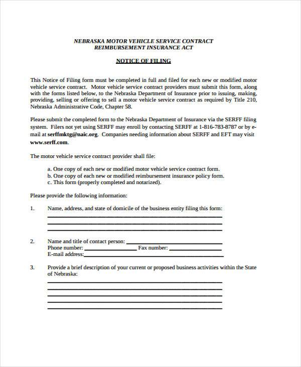 Service Contract Template - 11+ Free Pdf Documents Download - service contract form