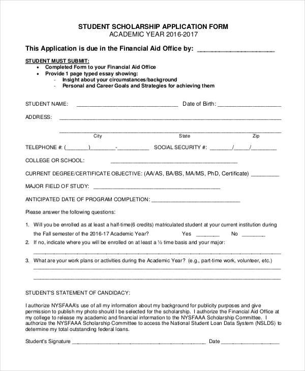 7+ Student Application Form Samples - Free Sample, Example Format - scholarship application form