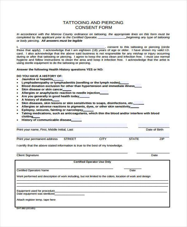 Tattoo consent forms for Tattoo release form template