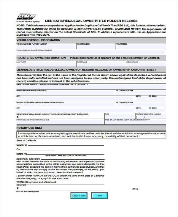 Lien release form