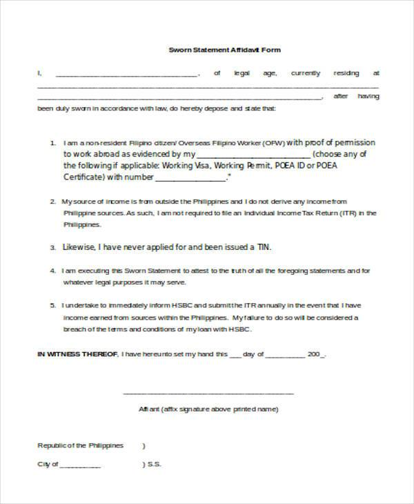 21+ Affidavit Form Examples - Free Sample, Example Format Download - affidavit statement of facts