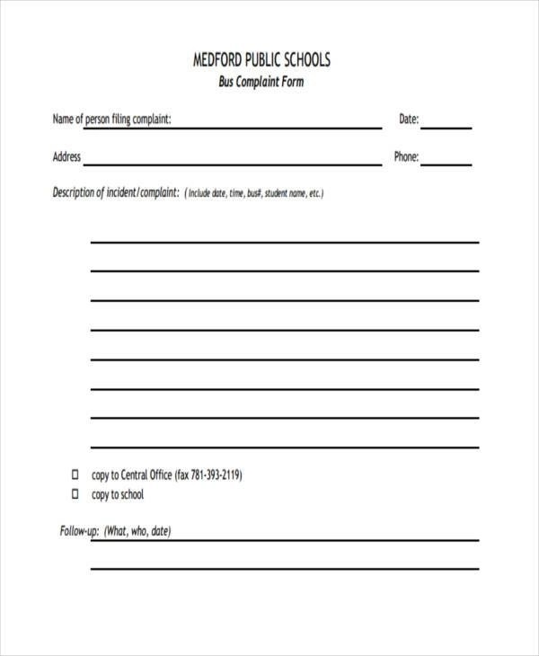 Sample School Complaint Forms - 7+ Free Documents in Word, PDF