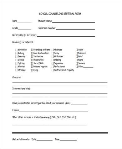 Sample Counseling Referral Forms - 8+ Free Documents in Word, PDF - referral form