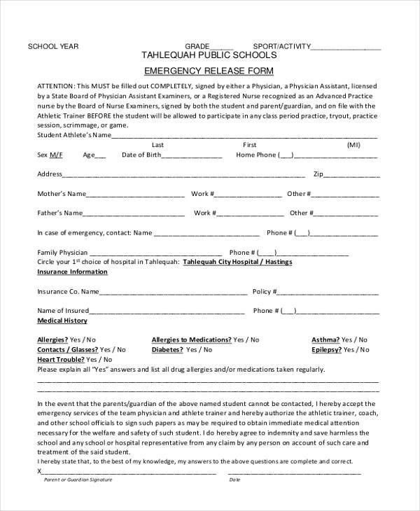 Sample Emergency Release Forms - 8+ Free Documents in PDF - physician release form