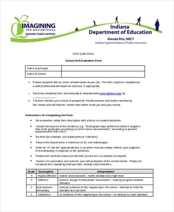 School Self Evaluation Form colbro