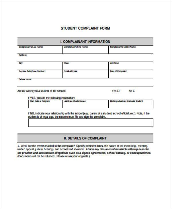10+ School Complaint Form Samples - Free Sample, Example Format
