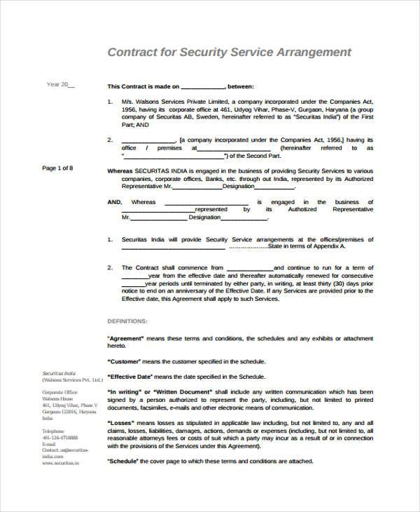 Sample Service Contract Agreement Forms - 6+ Free Documents in Word, PDF