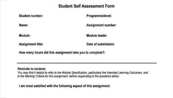 Self-Assessment Sample Forms - 22+ Free Documents in Word, PDF