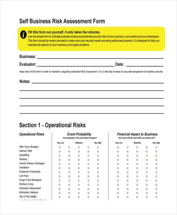 7+ Business Assessment Form Samples - Free Sample, Example Format - business risk assessment