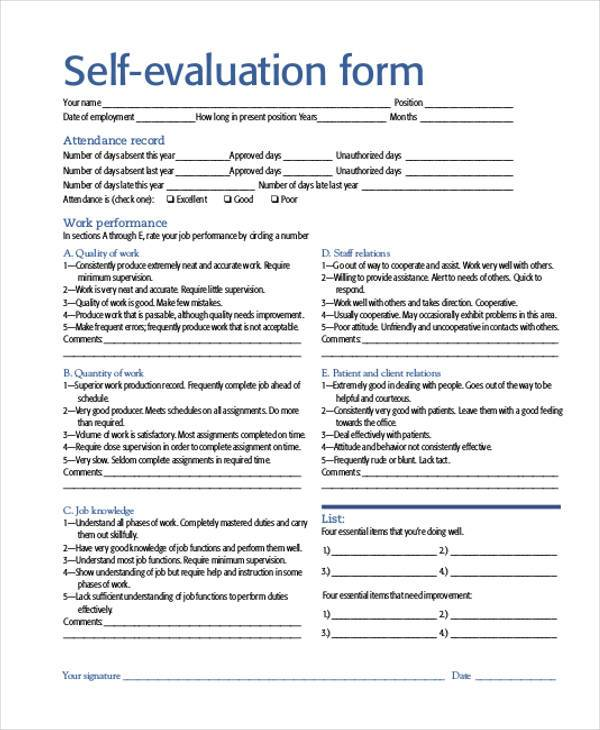 Self Evaluations  NodeResumeTemplatePaasproviderCom