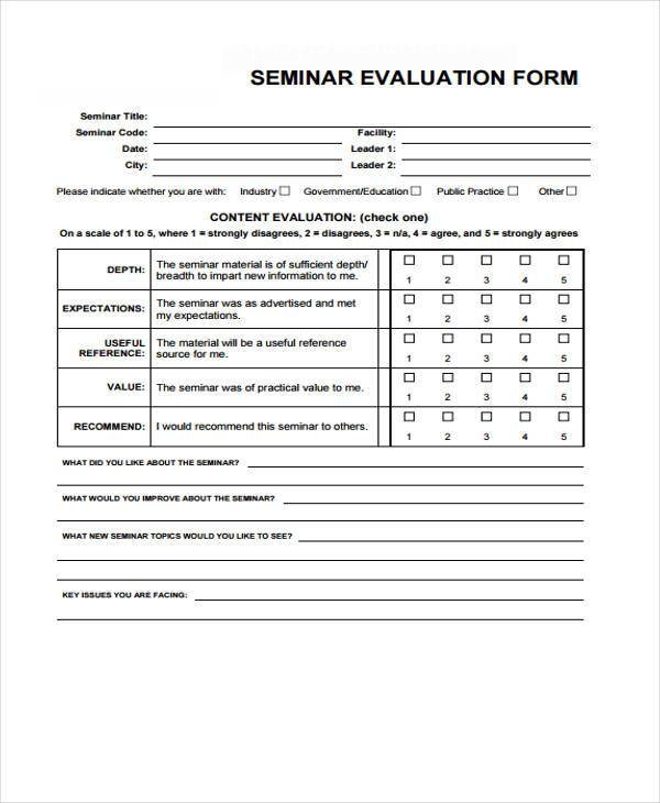 Seminar evaluation form colbro 7 seminar evaluation form samples free sample example format maxwellsz