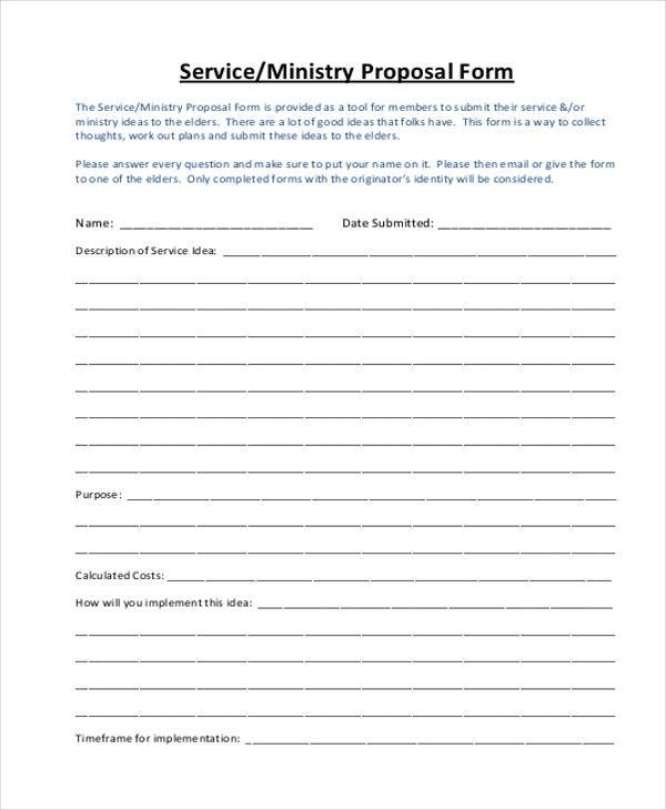 Sample Service Proposal Forms - 8+ Free Documents in Word, PDF - proposal for services example