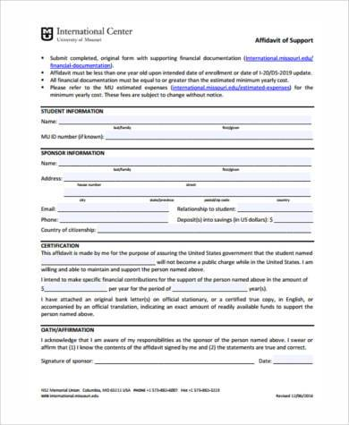 7+ Affidavit of Support Sample Forms - Free Sample, Example Format