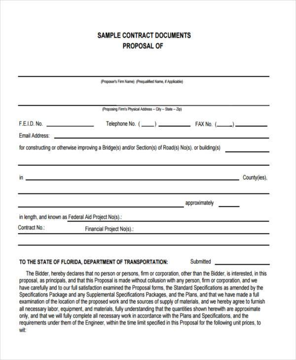 Sample Business Contract Forms - 9+ Free Documents in Word, PDF - proposal contract template