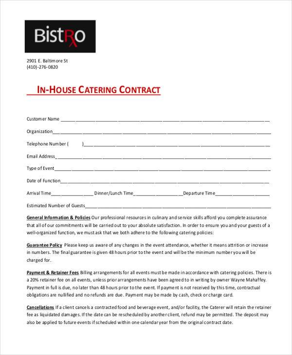 Contract SampleCatering Contract Agreement Event Contracts Event - purchase order contract template