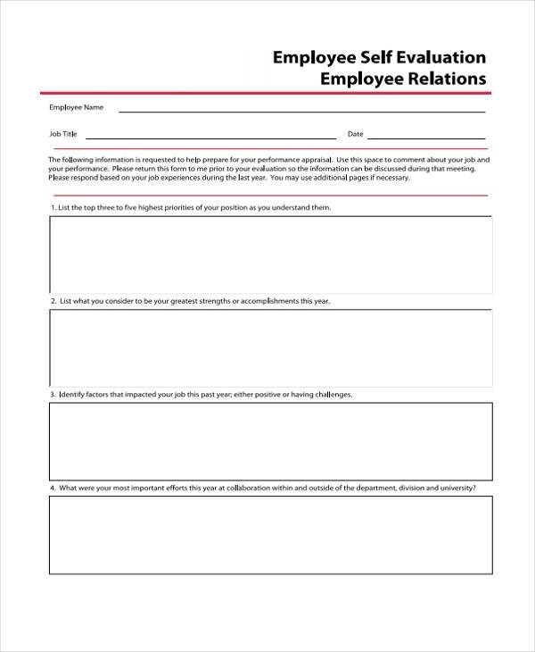 Beautiful Employee Self Evaluation Forms Gallery - Resume Samples - performance self evaluation form