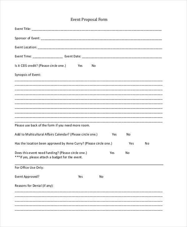 Proposal Forms Printable Blank Bid Proposal Forms Free Job Proposal - generic business proposal template