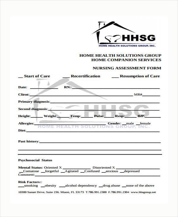 sample nursing assessment - fototango