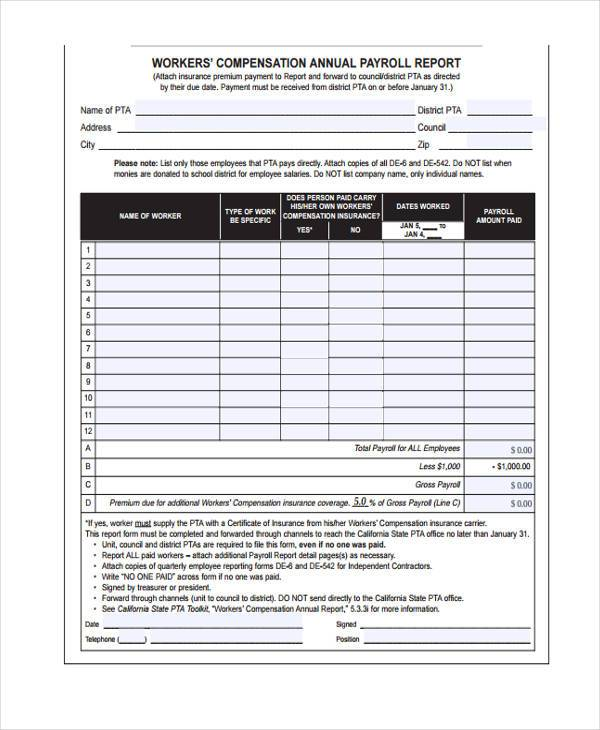 Sample Payroll Reporting Forms - 7+ Free Documents in Word, PDF - worker compensation form