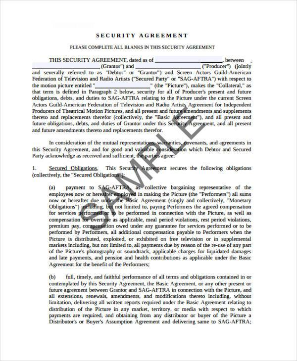 10+ Security Agreement Form Samples - Free Sample, Example Format - security agreement template