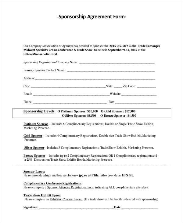 ... Sponsorship Agreement Simple Sponsorship Agreement Form 7+   Event Sponsorship  Agreement Template ...