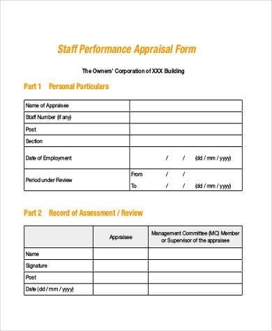 Simple Appraisal Forms - 22+ Free Documents in Word, PDF - simple appraisal form