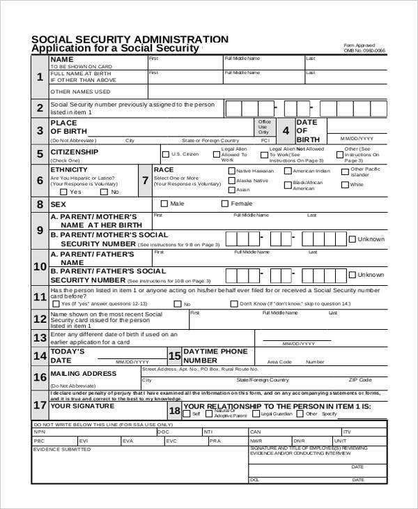 Sample Security Application Forms - 7+ Free Documents in Word, PDF - social security form