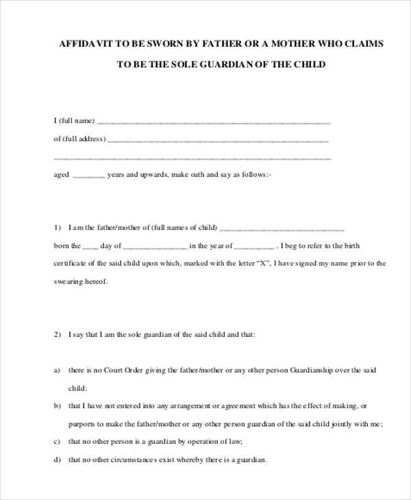 Sample Guardianship Affidavit Forms - 8+ Free Documents in PDF - how to write a legal affidavit