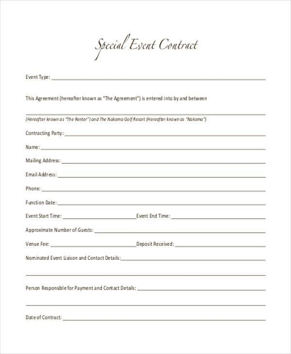 event contract example - Ozilalmanoof