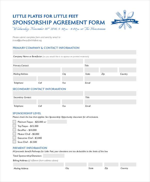 7+ Sponsorship Agreement Form Samples - Free Sample, Example Format