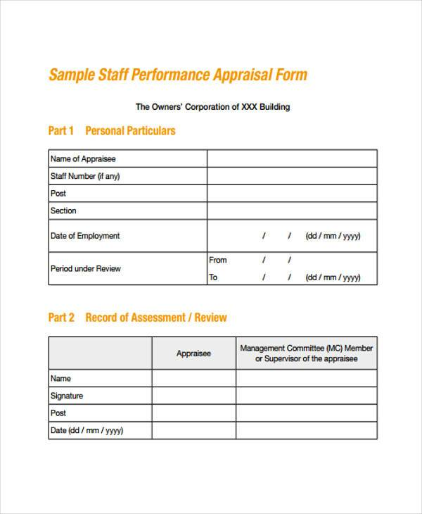 Appraisal Forms Template staff evaluation staff performance