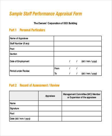 sample staff evaluation form