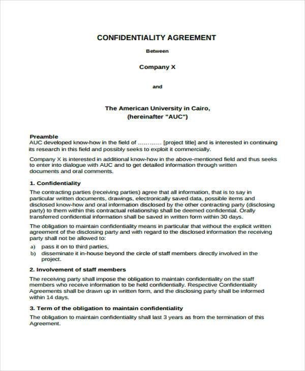 8+ Confidentiality Agreement Form Samples - Free Sample, Example - data confidentiality agreement
