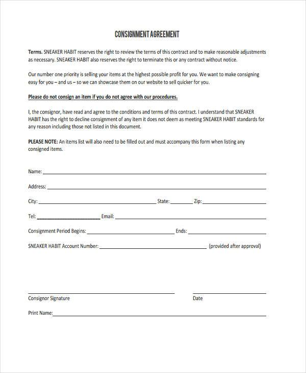 Parts Consignment Agreement Image collections - Agreement Letter Format
