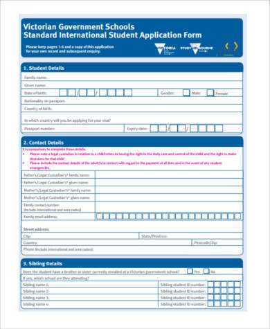 8+ Sample School Application Form - Example Format Download - form for school admission