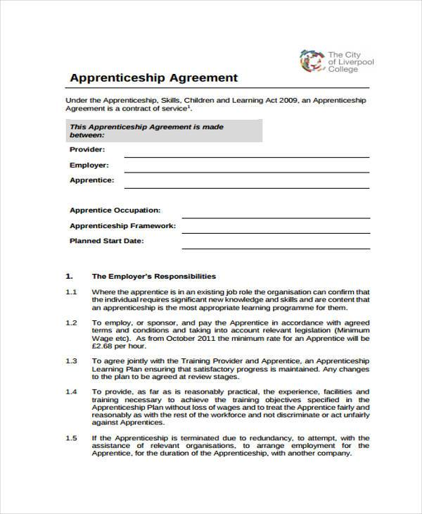 7+ Apprenticeship Agreement Form Samples - Free Sample, Example - Student Contract Templates